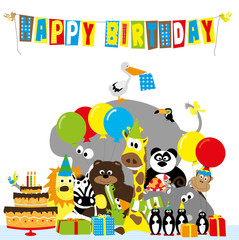 Happy birthday card with cartoon animals, birthday cake , gifts and balloons