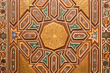Traditional design of a door in Moroccan style
