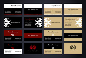 Business Cards creative design with logo, vintage style set