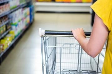 Detail of woman pushing cart