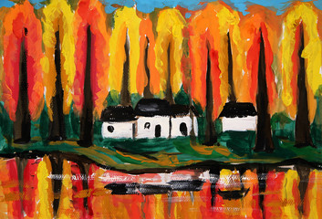 oil painting - river house forrest