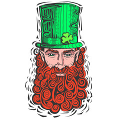 Leprechaun with  red beard, portrait