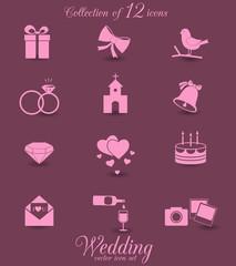 Wedding vector icon set.