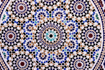 Moroccan style handmade mosaic in round shape in blue tone