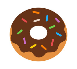 Donut / doughnut with chocolate frosting and sprinkles flat color icon for food apps and websites