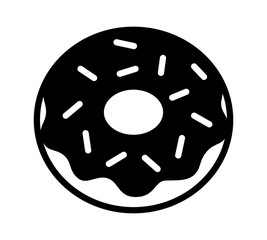 Donut / doughnut with chocolate frosting and sprinkles flat icon for food apps and websites