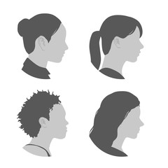 various races women profile icon set, face as seen from the side, avatar icons, vector illustration