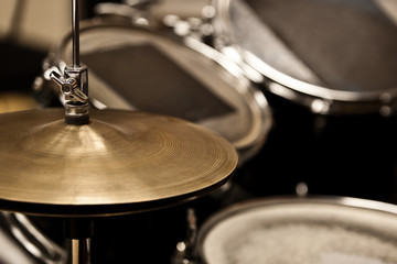 Detail of a drum kit