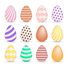 Colorful Easter Egg icons set vector illustration isolated on white background