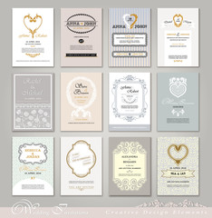 Wedding Invitation Cards set in Vintage and Retro style