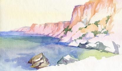 Hand drawing. Watercolor. Cape Fiolent, sea, rocks,  Sevastopol, Crimea