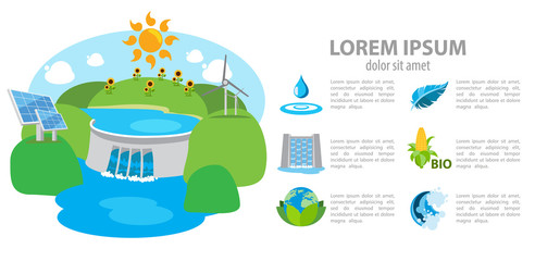 Isometric hydroelectric power station, dam, infographics