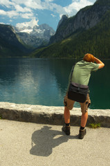 View of photograper taking photo of Gosau valley with Gosau see