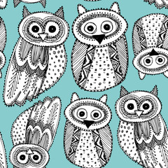 Decorative Hand dravn Cute Owl Sketch Doodle black blue seamless pattern