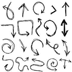 Decorative Hand dravn Sketch Doodle black arrows on a white background