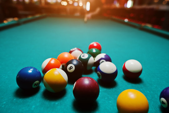Billiard balls in a pool table after shoot