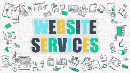 Website Services Concept. Modern Line Style Illustration. Multicolor Website Services Drawn on White Brick Wall. Doodle Icons. Doodle Design Style of  Website Services  Concept.