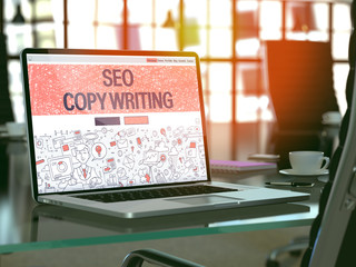SEO Copywriting Concept. Closeup Landing Page on Laptop Screen in Doodle Design Style. On Background of Comfortable Working Place. Blurred, Toned Image. 3D Render.