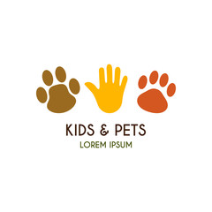 Kids and pets logo template. Creative vector template of design logo for pet shop, logo of petting zoo. Icon of a palm of the child, icon of a paw of a puppy, icon of a paw of a kitten.
