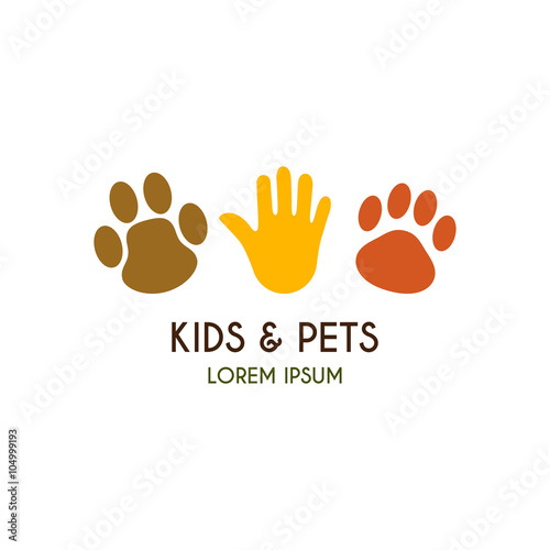 quotkids and pets logo template creative vector template of