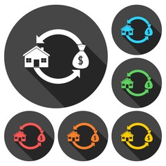 Buying and selling houses icons set with long shadow