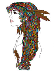 Beautiful Indian woman profile with creative brown braid and fas