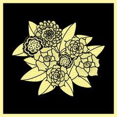 Beautiful Doodle Art Flowers Zentangle Pattern Hand Drawn Herbal Design Element Floral Black