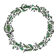 Leaf doodle wreath. Vintage round green frame isolated on white. Space for your text. Floral illustration.Template for wedding invitation, save the date, greeting, birthday cards. Decorative element.