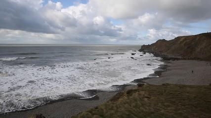 Wall Mural - Northcott Mouth beach north of Bude North Cornwall England UK pan