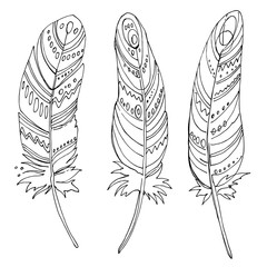Set of ornaments, feathers and beads. Native american indian dream catcher, traditional symbol. Feathers and beads on white background. Vector decorative elements hippie.