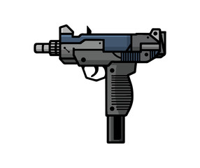 Uzi, isolated on white background. Hand drawn. EPS8.