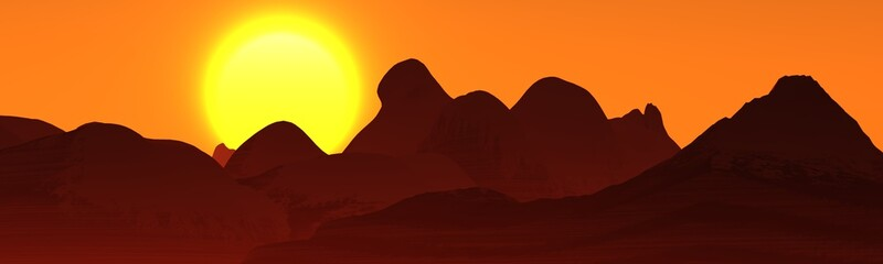 panorama of mountains, beautiful hills, the sunset over the mountains