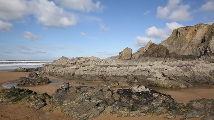 Fototapete - Sandymouth beach North Cornwall England UK unusual beautiful rock formations pan