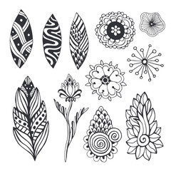 Nature collection in zentangle style. Hand drawn vector set with doodle flowers and leaves. For coloring page, stickers or other design decoration.