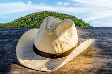 fedora hat on wooden table and nature country side background.