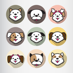 Dog Icon Flat Cartoon Design Vector Illustration