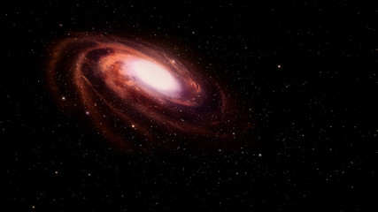 Red spiral galaxy in deep space.