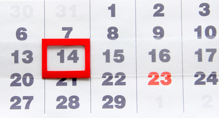 Sheet of wall calendar with red mark on 14 February - Valentines