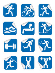 Stickers with fitness sport icons.