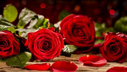 Vivid red rose petals