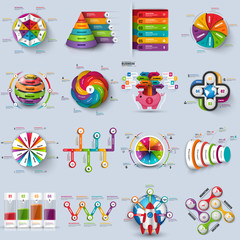 Collection of 3d infographic vector design template