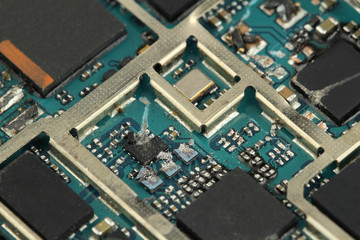 electronic circuit board destroy -close up - macro