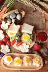 Sandwich bread with quail eggs of delicious.