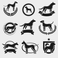 Dogs label and icons set. Vector