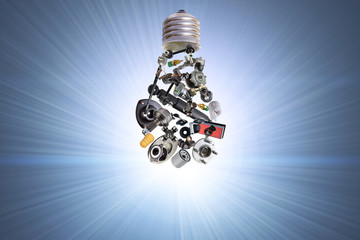 Electric bulb with spare parts for car