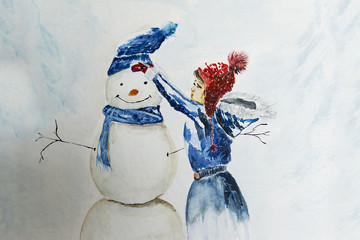 Girl winh snowman