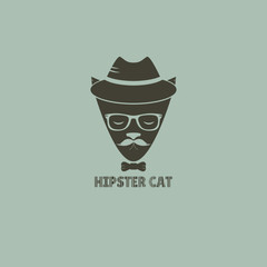 Silhouette hipster cat in a hat and sunglasses. Vector illustration hipster cat