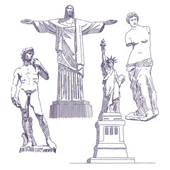 Famous statues drawings