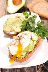 bread with avocado and egg