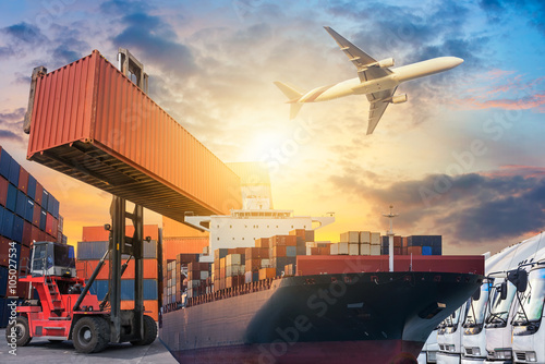 Wall mural Ship for container with working crane bridge in shipyard for Logistic Import Export background
